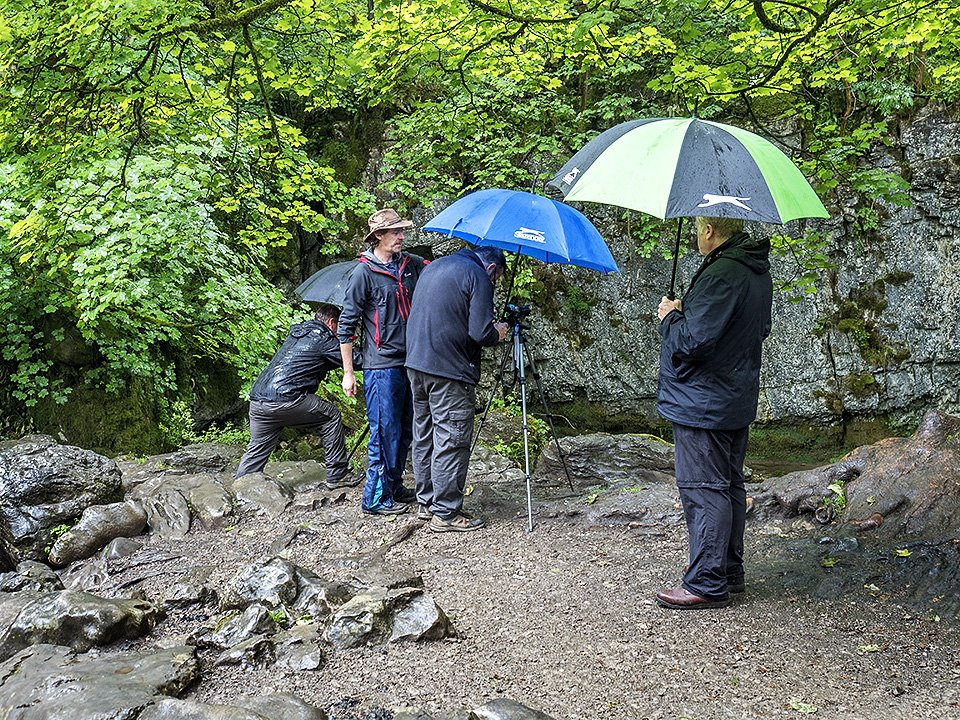 Photographing under brollies at Janet's Foss - Malham Workshop July 2021