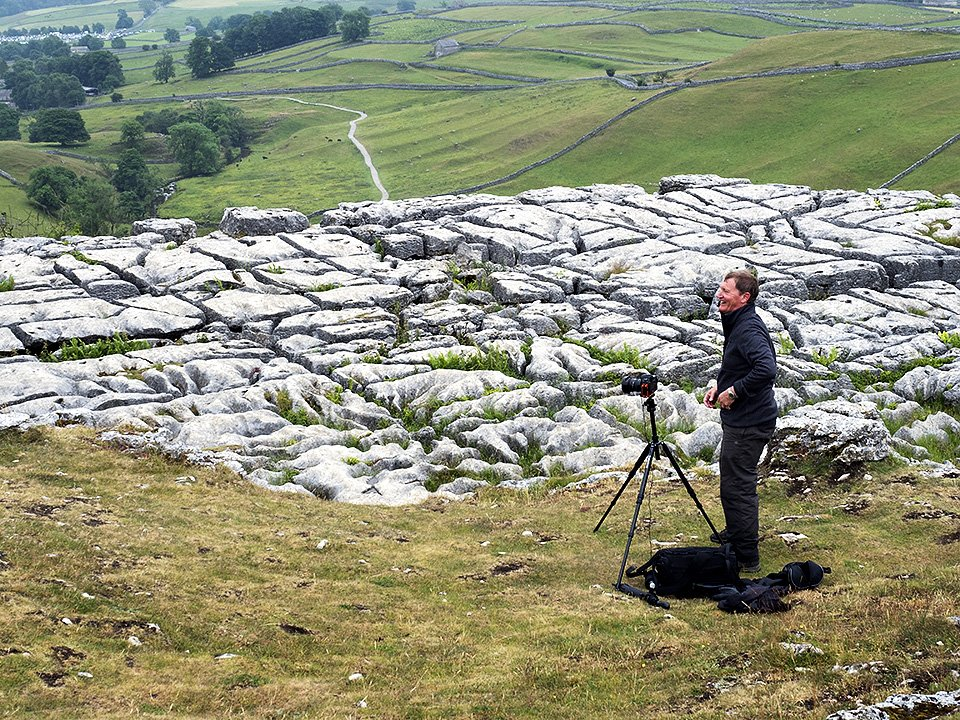 Looking at limestone pavement details at Malham Cove