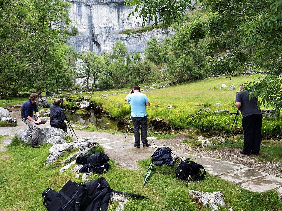 Photographing below Malham Cove at the end of the day - Malham Workshop July 2021